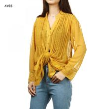 sexy see through blouse women lace chiffon shirt blouses tops lady long sleeve solid transparent shirts elegant blouse spring