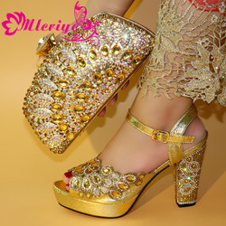 New African Elegant Gold Color Shoes And Bag To Match Set Nigerian Italian High Heels Party Shoes And Bag Set For Wedding Dress