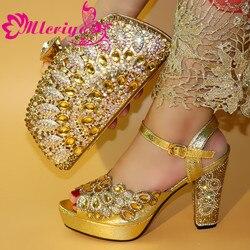 Nieuwe Afrikaanse Elegante Goud Kleur Schoenen En Tas Te Passen Set Nigeriaanse Italiaanse Hoge Hakken Partij Schoenen En Tas Set voor Trouwjurk