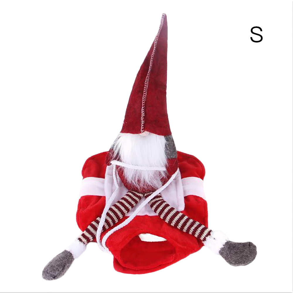 Novelty Pet Puppy Cat Christmas Riding Dress Warm Apparel Party Dressing Up Cosplay Clothing Fun Outfit
