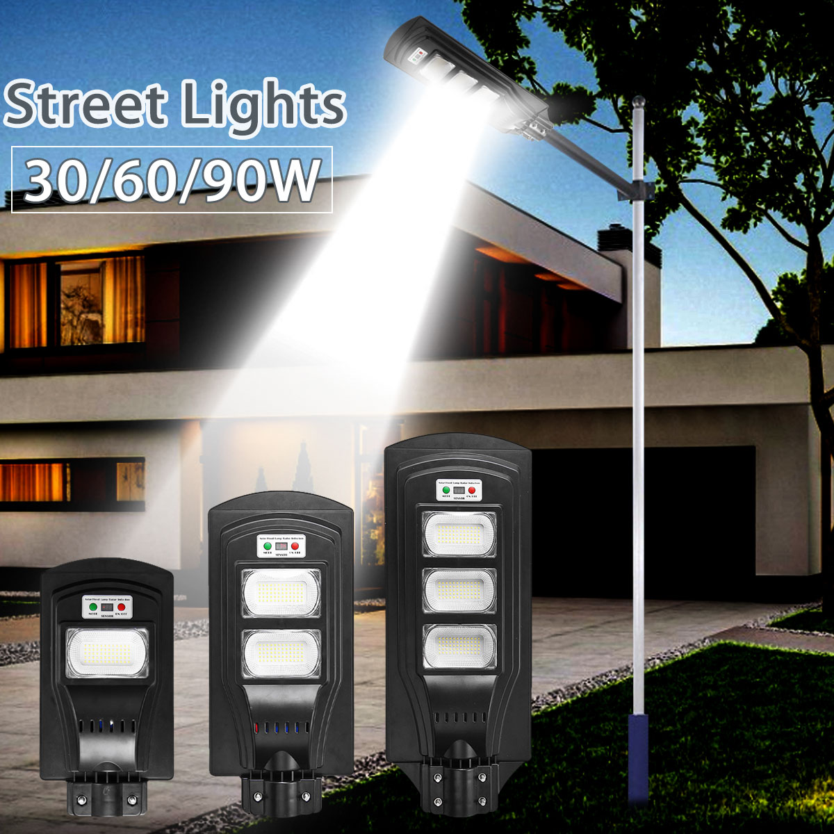 30/60/90W LED Wall Lamp IP66 Led Solar Street Light Radar Motion 2 In 1 Constantly Bright Induction Solar Sensor Remote Control