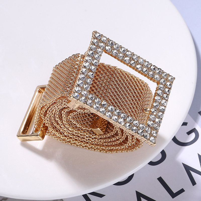 Ceinture Strass Femme Rhinestone Belts For Women Shiny Diamond Gold Metal Belt Fashion Waistband Luxury Designer High Quality