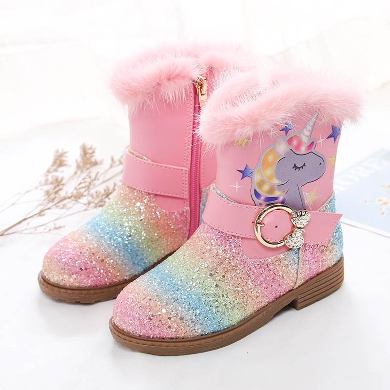 Winter Children Boots Leather Fashion Kids Mid-calf Boots Plush Glitter Sequin Cartoon Unicorn Rainbow Princess Girls Snow Boots