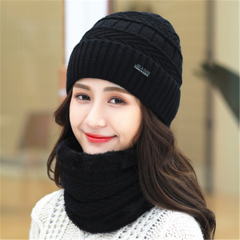 Women Men Scarf Hat Set Beanies Knitted Skullies Hats Pure Colour Autumn And Winter Warm Pure Colour Unisex Solid Color Outdoor