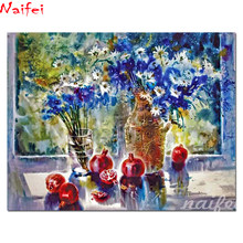 "diy 5d Square Diamond Painting still life pomegranate Full Drill""blue & white daisy ""Cross Stitch Mosaic Embroidery vast flower(China)"