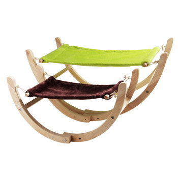 S/L Cat Bed Solid Wooden Puppy Dog Bed Cat Hammock Durable Rocking Chair Rolling Swing Toy for Pet Puppy Dog Kitten F