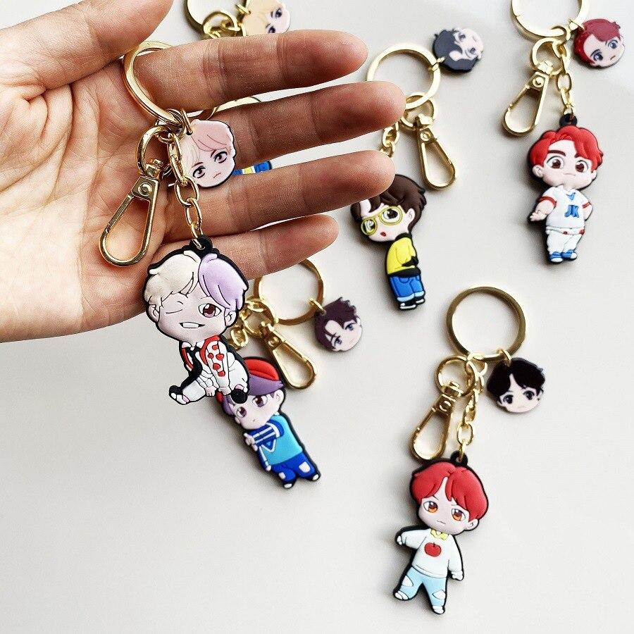 7pcs/lot Kpop Jungkook Jimin Rm Suga Jin V World Tour Lovely Cartoon PVC Soft Keychain Keyring Pendant  Toy Gift