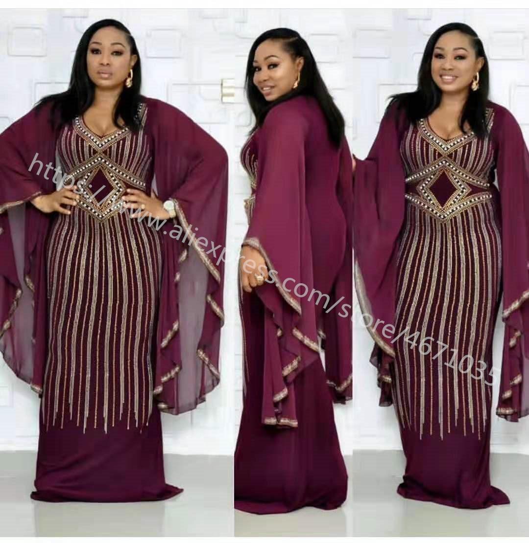 High Quality African Dresses For Women Drilling Rhinestone Pearl Long Evening Dresses Robe Chiffon Bat Sleeve Slim Mermaid Dress