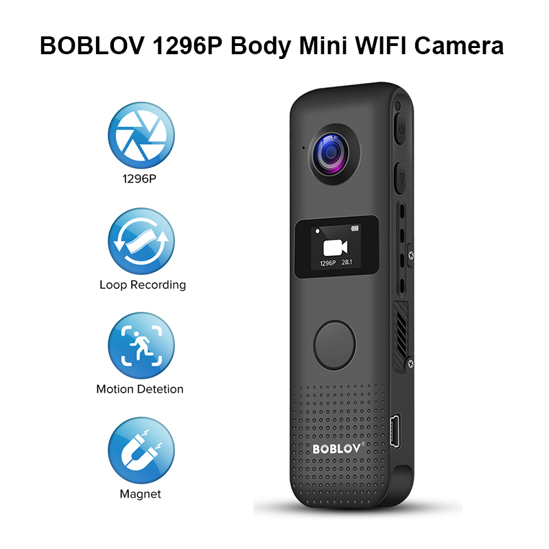 Built-in 64GB BOBLOV 1296P Mini Camera Body Worn Camera Support WiFi 32G with OLED Screen 3.5 Hours 1080P Recording One Big Button for Recording