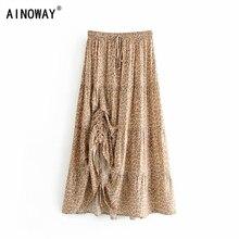 Vintage chic fashion Hippie women beach Bohemian leopard print Fold design skirt High Elastic  A Line Boho Maxi Skirt Femme