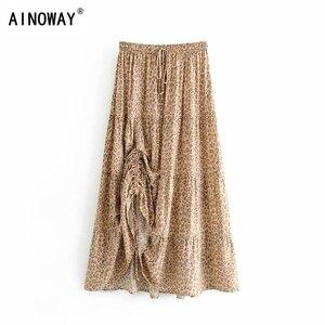 Image 1 - Vintage chic fashion Hippie women beach Bohemian leopard print Fold design skirt High Elastic  A Line Boho Maxi Skirt Femme