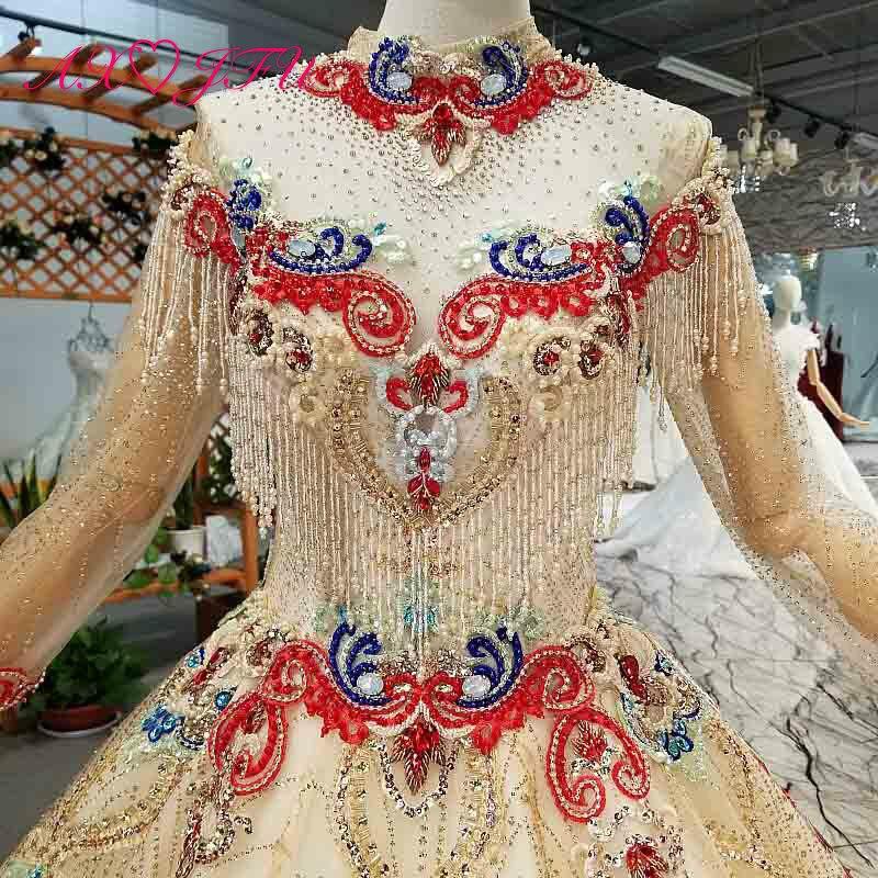 Image 4 - AXJFU роскошное платье принцессы с бусинами и красным цветком, Золотое кружевное платье с высоким воротом и длинным рукавом, свадебное платье для невесты 4041Свадебные платья    АлиЭкспресс