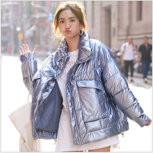 2019 Winter Jacket Women Short Glossy Down Cotton Padded Parkas 5 Colors Bright Shiny Warm Thick Female Coats womens parka jacket women
