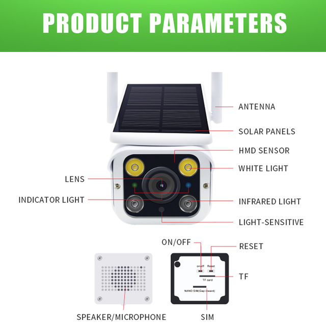 Hebeiros 4G LTE FDD GSM HD 1080P Solar Battery Wireless Outdoor Camera Waterproof Audio 2MP Security Surveillance CCTV IP Camera 6