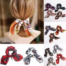 Fashion Bowknot Ponytail Holder Scrunchies Jewelry Elastic Printing Hair Accessories Women Scarf Tie Hairband Ribbon Headwear(China)