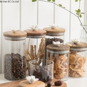 Image 3 - İskandinav yaratıcı seramik çiçek kahve çekirdeği şeker mühürlü kavanoz dekoratif cam kavanoz mutfak büyük saklama kavanozları ahşap kapaklı