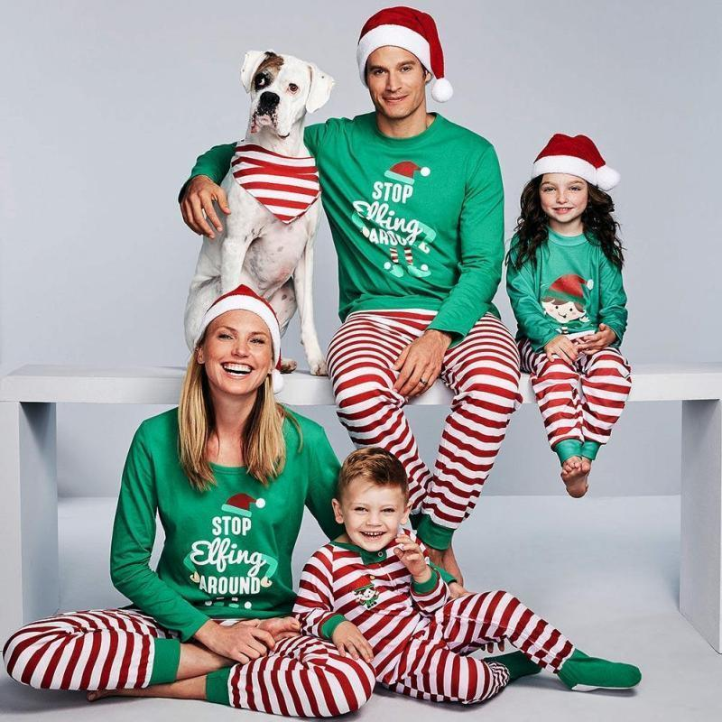 Pajamas Christmas Family Matching Outfits Girls Family-Look Nightwear-Set Home-Wear