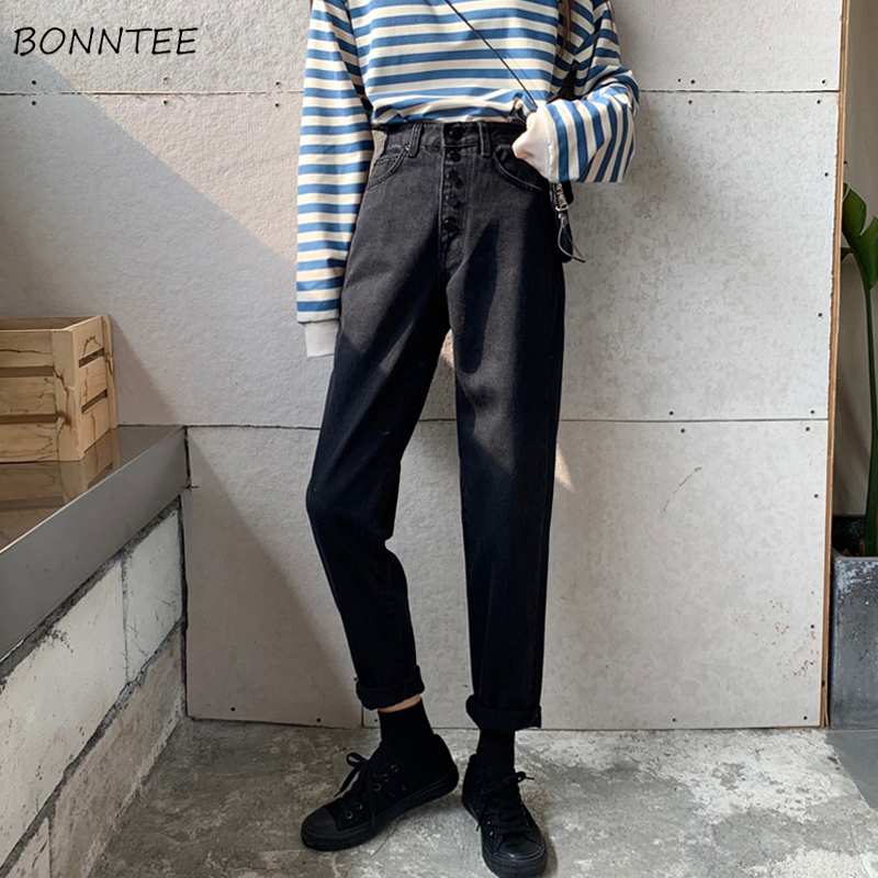Jeans Women Korean Retro Loose Long Trousers Denim Womens High Waist Straight Ladies Harajuku Single Breasted Students 2019 New