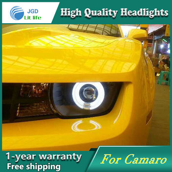high quality Car styling case for Chevrolet Camaro Headlights LED Camaro Headlight DRL Lens Double Beam HID Xenon