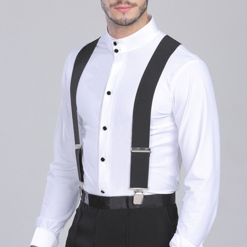 Hot Sale 5Cm Wide 120cm Long Black Color Elastic Adjustable Men Trouser Braces Suspenders X Shape With Strong Metal Clips IE998