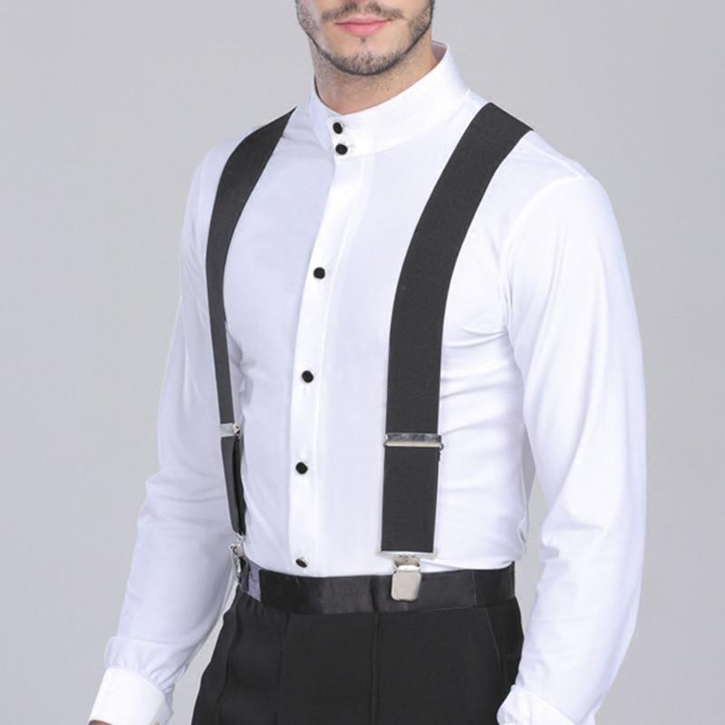 Hot Sale 5Cm Wide 120cm Long Black Color Elastic Adjustable Men Trouser Braces Suspenders X Shape With Strong Metal Clips IE998