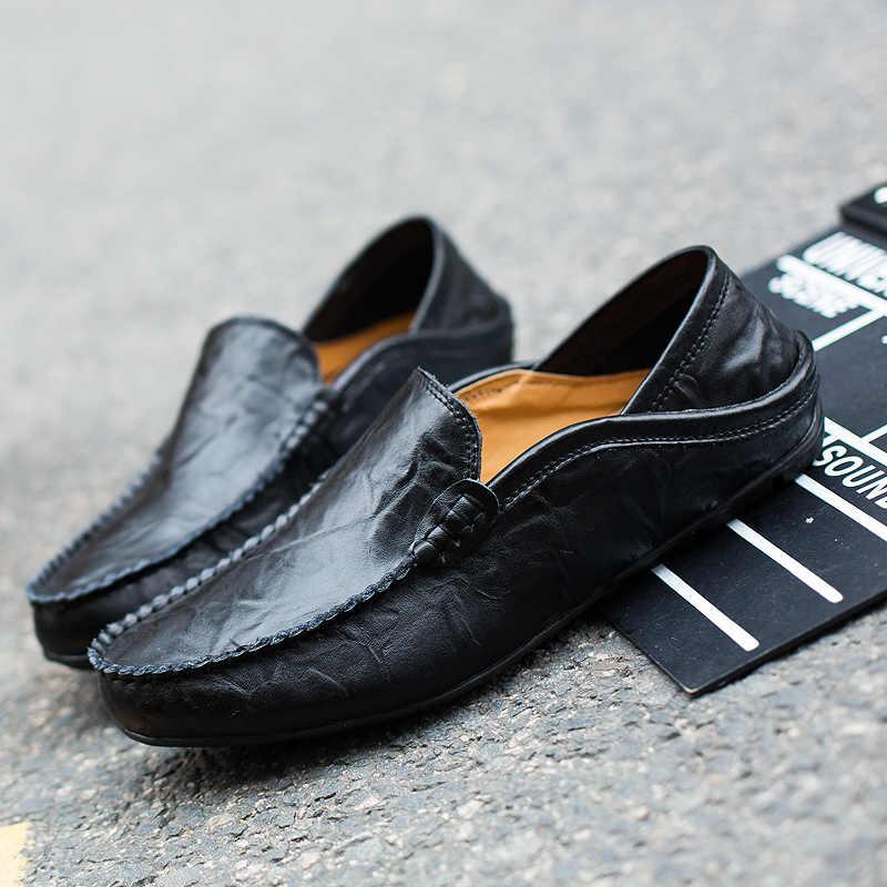 Модная мужская обувь; обувь из натуральной кожи; мужские повседневные удобные лоферы; мужские мокасины; дышащая водонепроницаемая обувь для вождения; слипоны