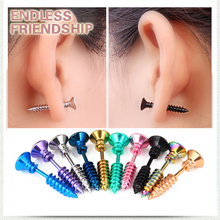 Punk Hip Hop 1 Pc Screw Stud Earrings Fashion Design Stainless Steel Body Piercing Ear for Men Women Anti Allergic