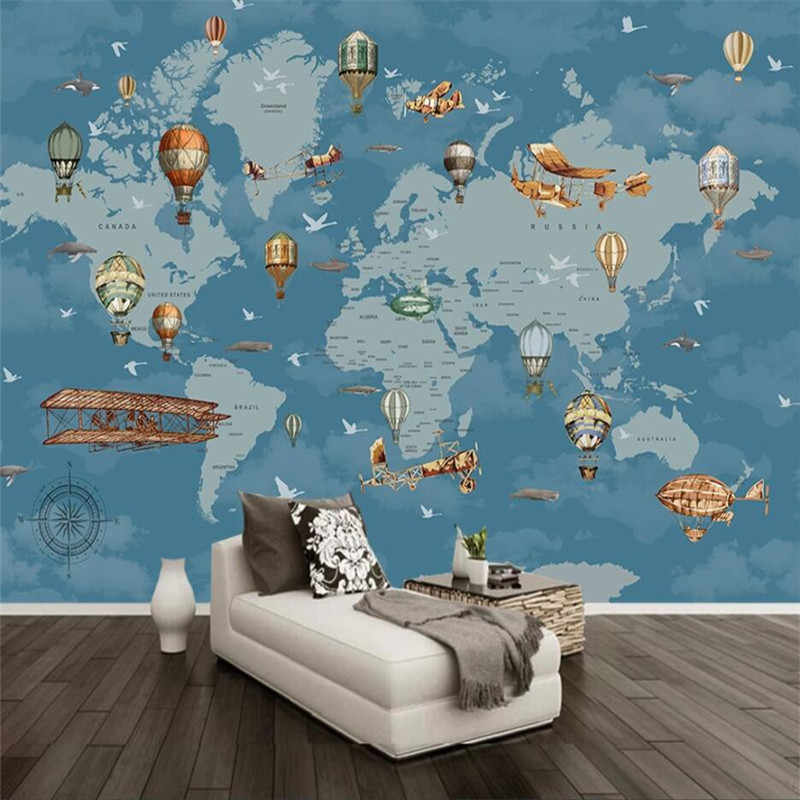 Cartoon Air Hot Balloons Airplane World Map Wallpaper Mural for Kids Room Children Bedroom Vintage Wall Papers Home Decor