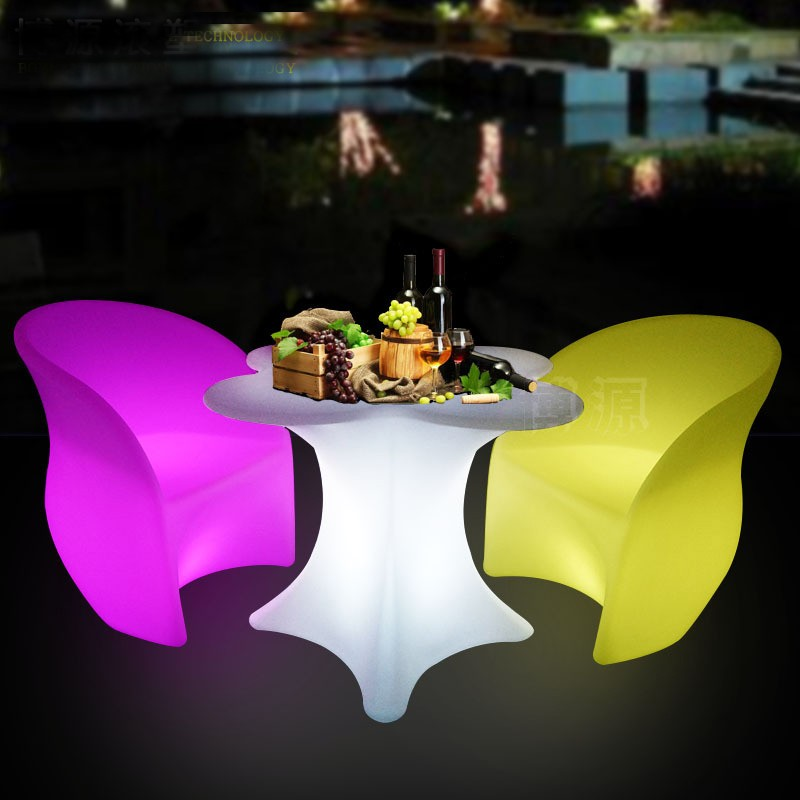 Cherry Blossom Flower Shaped LED Rechargeable Luminous Cocktail Table Waterproof Glowing Led Bar Table KTV Disco Club Bar Supply