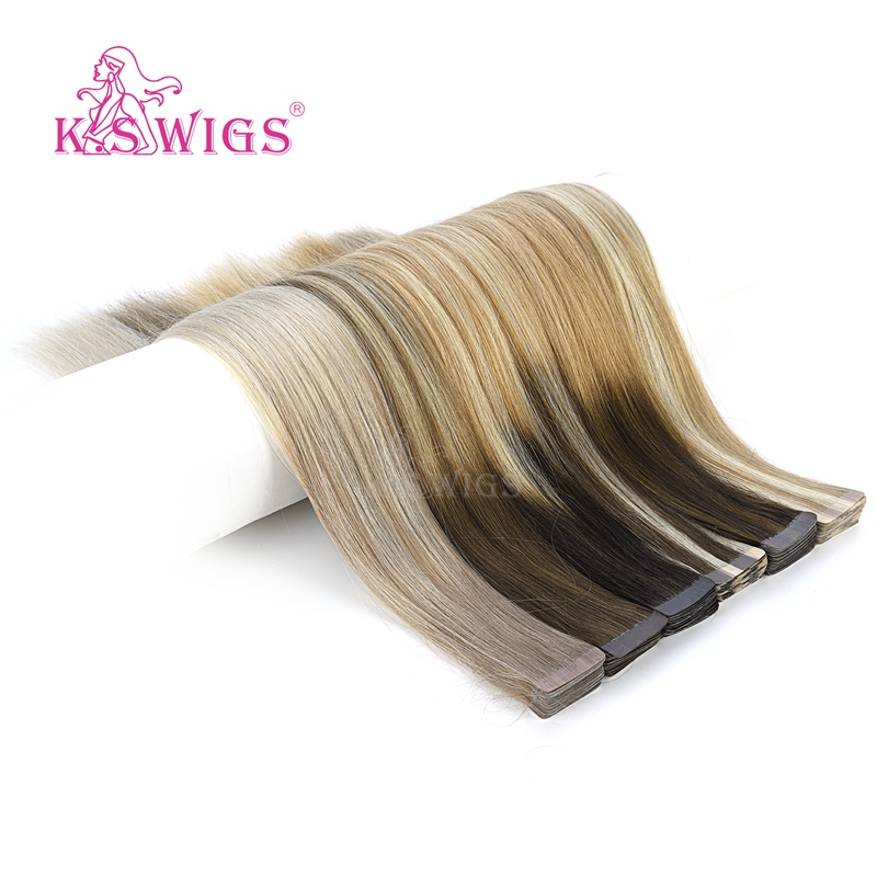 K.S WIGS 20'' 50cm Straight Remy Tape In Human Hair Double Drawn Skin Weft Adhesive Hair Extensions T Color 2.5g/pc