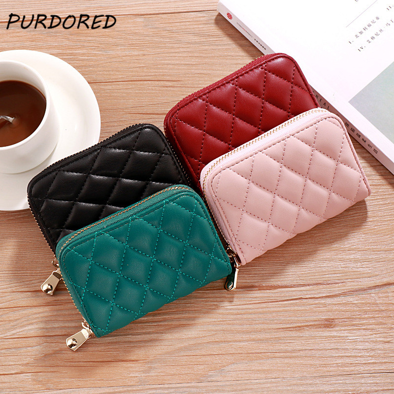 PURDORED 1 Pc 9 Slots Women Card Holder PU Leather Business Card Wallet Women Driver License Coin Purse Porte Carte Bancaire