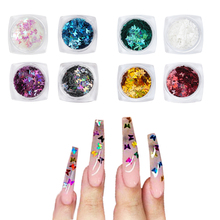 Holographic Butterfly Shape Nail Glitter Flakes 4Box/set DIY