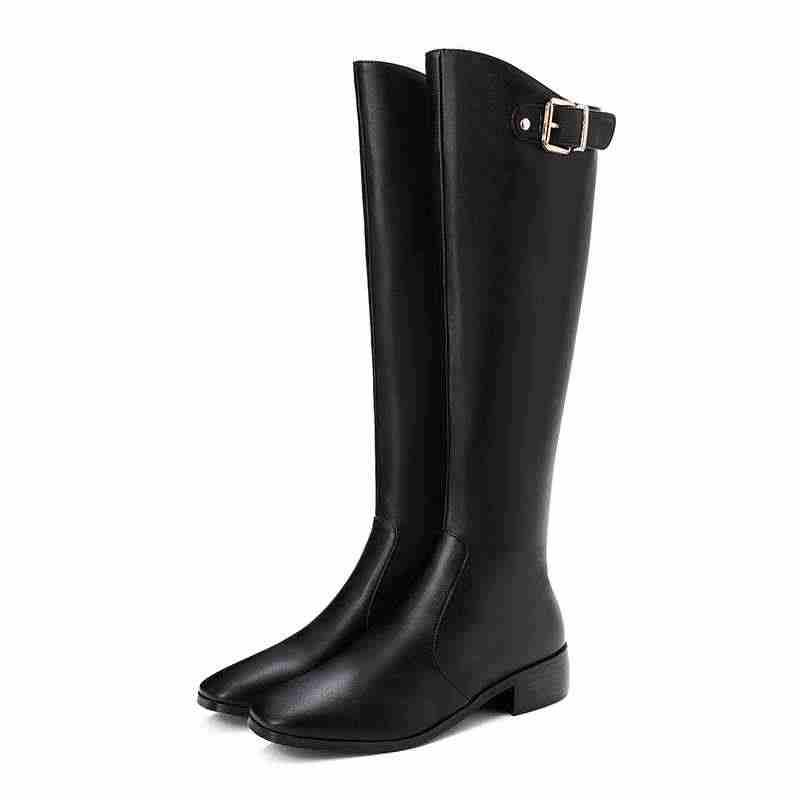 Krazing Pot büyük boy PU deri ofis bayan toka sapanlar kare ayak med topuklu kış sıcak kadın moda diz yüksek çizmeler L6f1