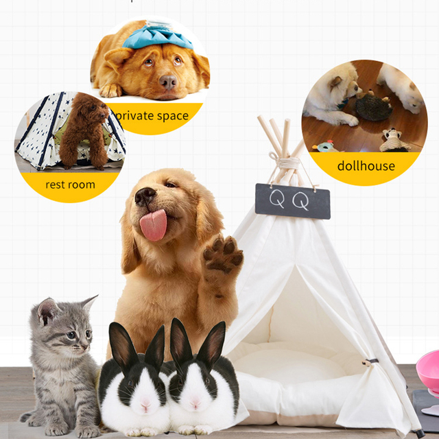 Pet Tent House Cat Bed Portable Teepee With Thick Cushion And 6 Colors Available For Dog Puppy Excursion Outdoor Indoor 6