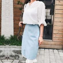 Spring Summer V-Neck Loose Lace Tops High Waist Chiffon Patchwork Denim Knee Length Wrap Skirts Womens 2 Piece Set 2020 S-XL(China)