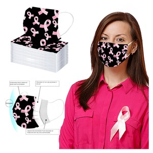 50/100pcs Women Face Mask Breast Cancer Awareness Hope Ribbon Adult Mouth Cover Safety Disposable 3-Layer Mask mondkapjes