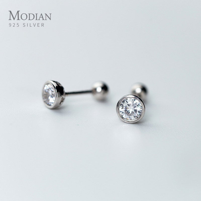 Modian Classic Charm Round Clear CZ Stud Earrings For Women 925 Sterling Silver Wedding Engagement Statement Jewelry Gifts
