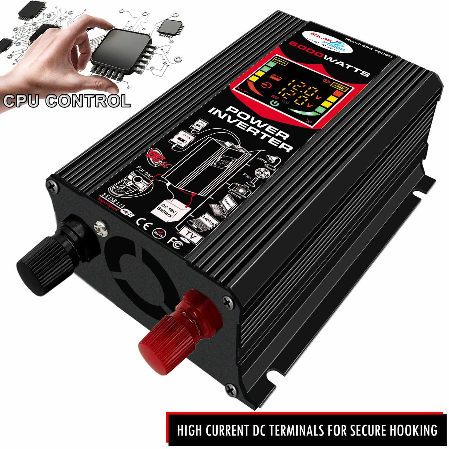 6000W 12V Car Power Inverter Solar Panel Battery Modified Sine Wave Inverter LCD Display Cooling Fan Dual USB Ports 110V/220V image