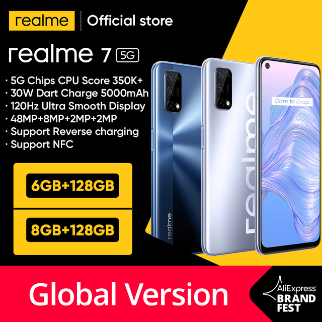 [World Premiere In Stock]realme 7 5G Dimensity 800U 6GB 128GB 120Hz Display 48MP Camera 5000mAh Global Version 30W Dart Charger 1