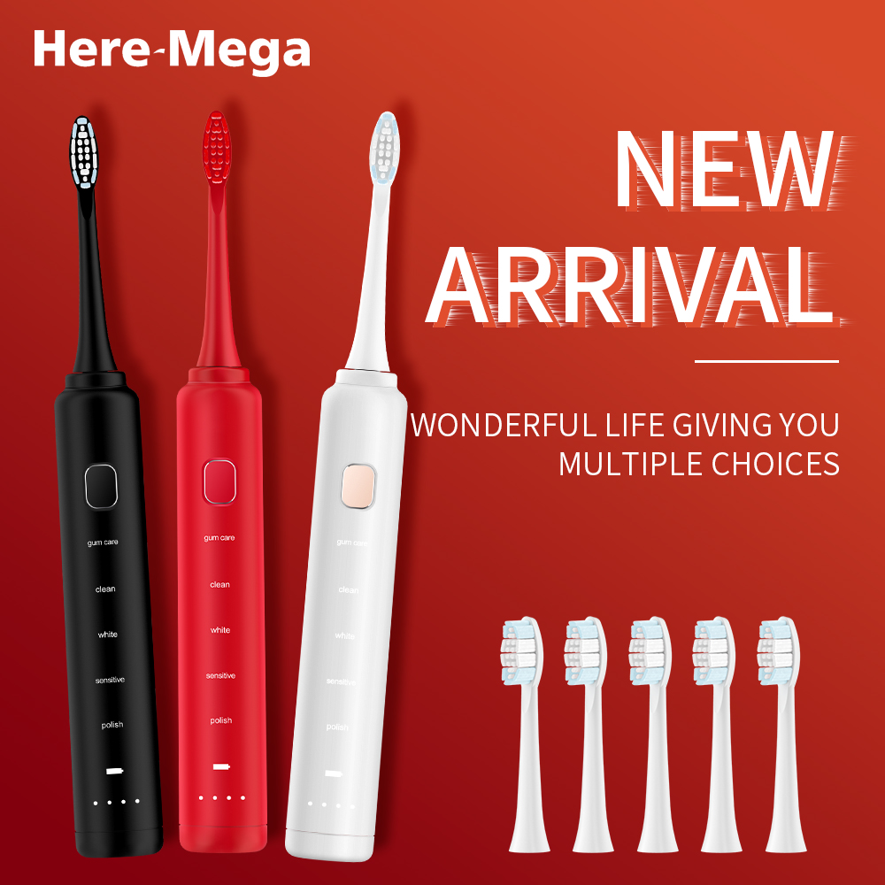 Here Mega Sonic Electric Toothbrush 5 Modes Adult Automatic Toothbrush Ultrasonic Replaceable Toothbrush Heads USB Charge 602U