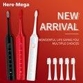 Hier Mega Sonic Elektrische Tandenborstel 5 Modi Volwassen Automatische Tandenborstel Ultra Sonic Vervangbare Opzetborstels Usb Charge 602U