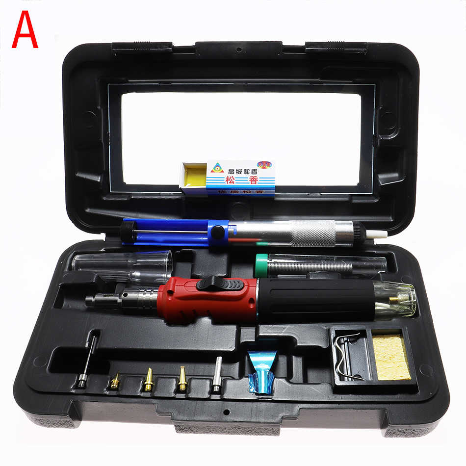 10 in1 Gas Soldering Iron Cordless Welding Torch Kit Tool HS-1115K Top Quality Ignition Butane Gas Soldering Iron Welding Equipm