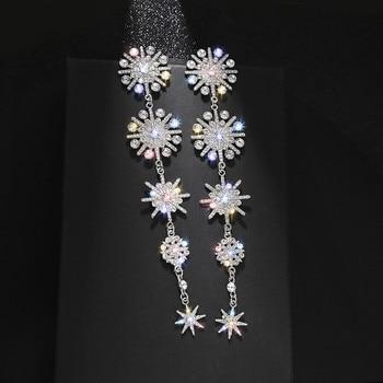 FYUAN Shine Snowflake Rhinestone Drop Earrings for Women Long Tassel Star Crystal Earrings Weddings Engagement Jewelry Gift недорого