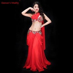 Image 5 - חדש נשים ריקוד תחרות תלבושות 3 חתיכה סט ריקוד מזרחי ביצועים להראות ללבוש בלינג בלינג מקסימום חיצוני פנל אדום לבן