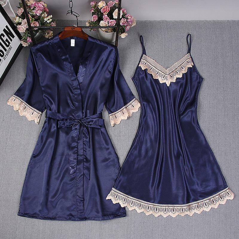 Satin 2PCS Robe Set Women Kimono Bathrobe Gown Sexy Sleepwear Lady Nightgown Lace Bride Bridesmaid Wedding Gown Oversize 3XL