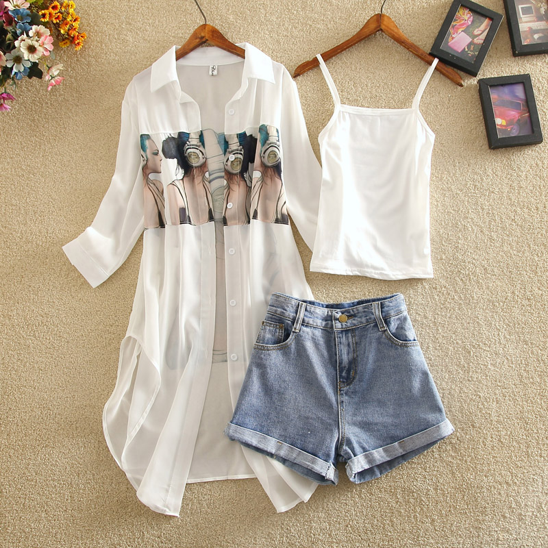 Summer New Women Sets Three Pieces Women Sets Printed Blouse And Wide Leg Denim Shorts Lady Casual Shorts Suits Top Quality