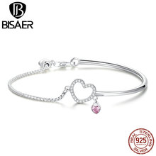 BISAER New Arrival 925 Sterling Silver Jewelry Love Heart Round Chain For Bracelets Silver Jewelry Making Gifts For Women HSB117 xiaojing new arrival 925 sterling silver lovely christmas tree chain pendant necklace diy fashion jewelry making for women gifts