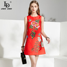 LD LINDA DELLA 2021 Fashion Runway Summer Dress donna senza maniche stampa floreale perline abiti corti elegante Mini abito da donna