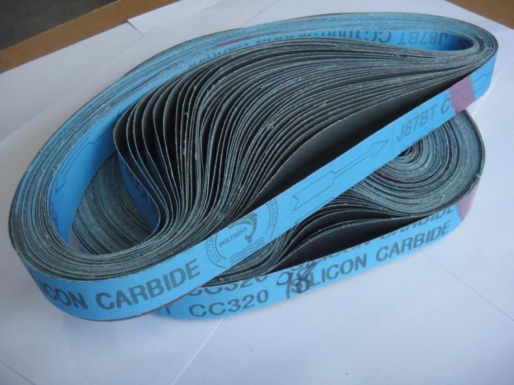 NEW 10pcs 762*25mm Soft Cloth Sandpaper J87BT Silicon Carbide Abrasive Sanding Belts  For Grinding Aluminum / Copper  P100-1200