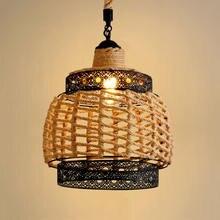 Винтажная люстра e27 в стиле лофт Регулируемая лампа из пеньковой